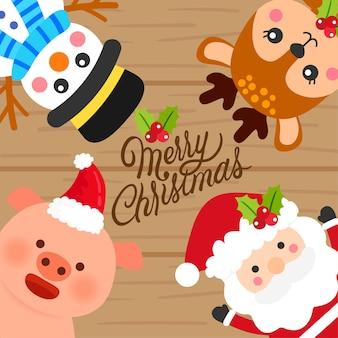 Vecteur de Noël dessin animé mignon.