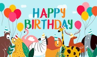 Vecteur de thème animal carte joyeux anniversaire