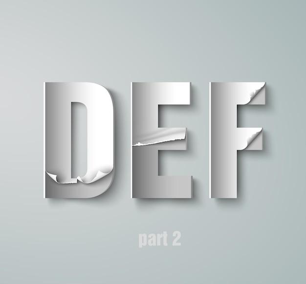 Vecteur, déchiré, papier, graphique, alphabet