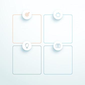 Vecteur décrit 3d carré texte boîtes avec des icônes modernes