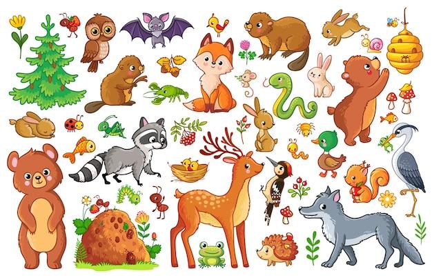 Vecteur défini avec des animaux et des oiseaux dans un style pour enfants