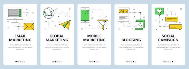 Vecteur défini bannières avec email marketing, marketing mondial, marketing mobile, blogging, campagne sociale