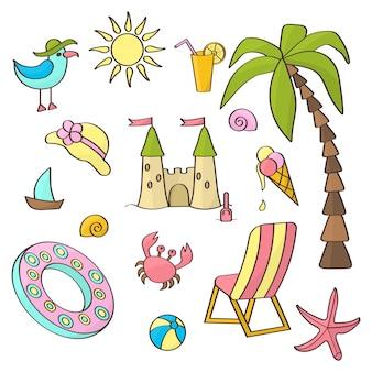 Vecteur défini sur le thème des vacances à la mer d'été sur fond blanc