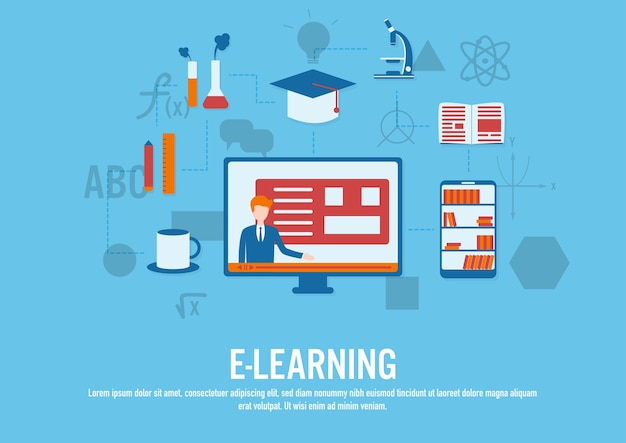 Vecteur de design plat de concept e-learning