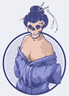 Vecteur de design visage geisha japonais crâne
