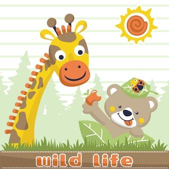 Vecteur de dessin animé de l'amitié entre la girafe et l'ours