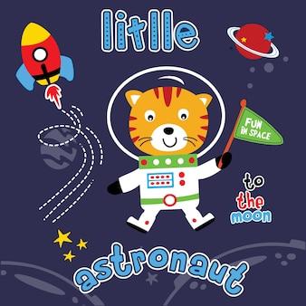 Vecteur de dessin animé animal astronaute