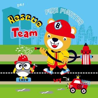 Vecteur de dessin animé animal pompier