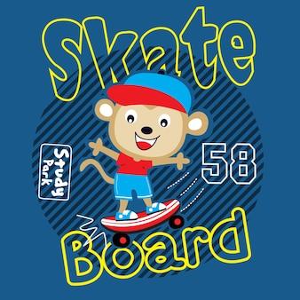 Vecteur de dessin animé animaux skaterboard