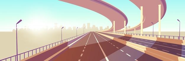 Vecteur de dessin animé autoroute vitesse métropole moderne