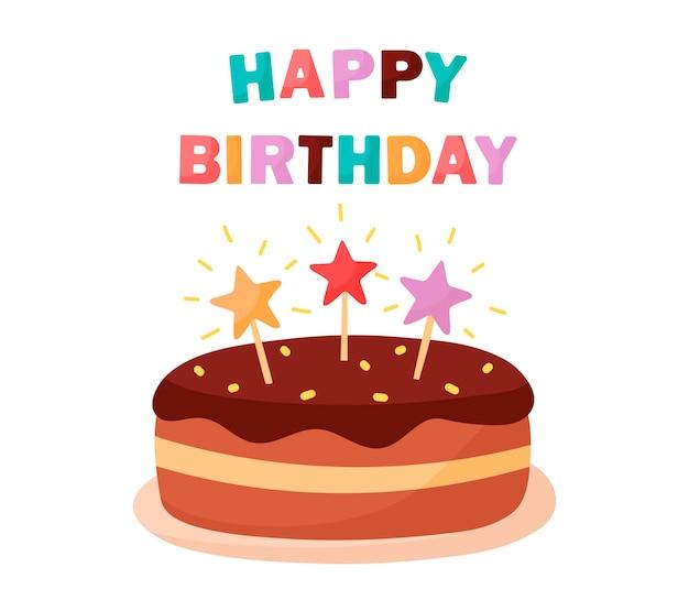 Vecteur de dessin animé de carte de gâteau d'anniversaire