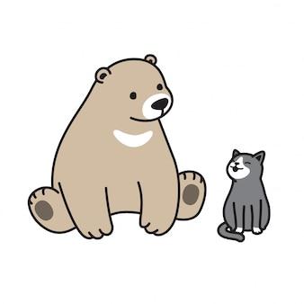 Vecteur de dessin animé chaton chat ours polaire