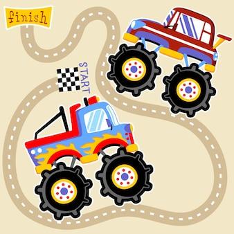 Vecteur de dessin animé course de monster truck