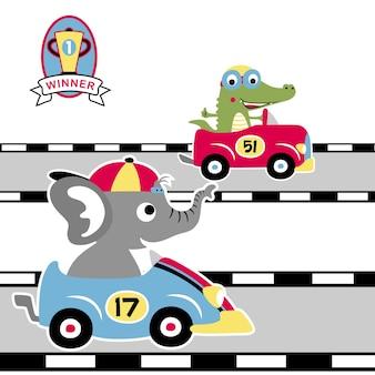 Vecteur de dessin animé de course sur route