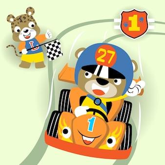 Vecteur de dessin animé de course de voiture
