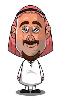 Vecteur de dessin animé debout homme arabe traditionnel