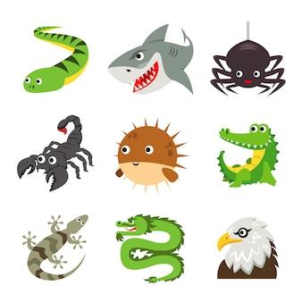 Vecteur de dessin animé drôle de reptiles animaux