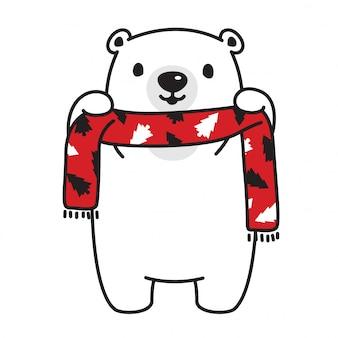 Vecteur de dessin animé écharpe arbre de noël ours polaire