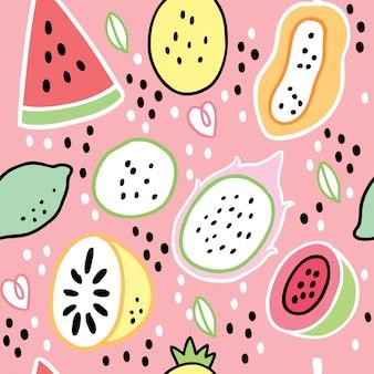 Vecteur de dessin animé été mignon fruits sucrés.