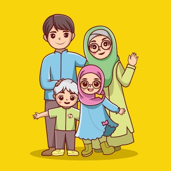 Vecteur de dessin animé de famille islamique
