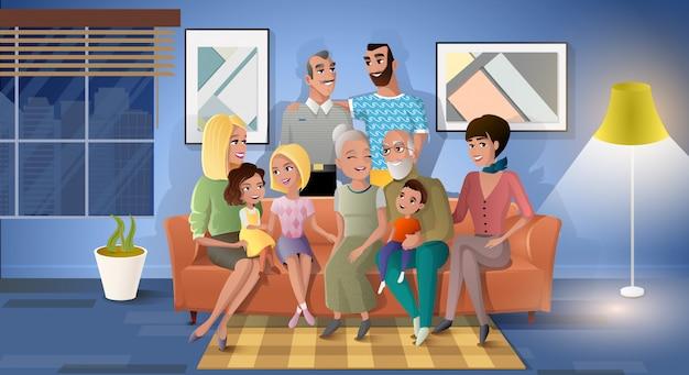 Vecteur de dessin animé famille trois générations ensemble