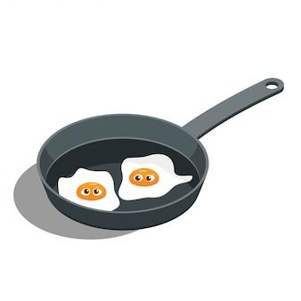 Vecteur de dessin animé fried egg avec un visage dans une poêle à frire.