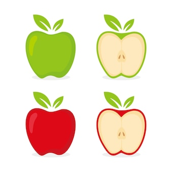 Vecteur de dessin animé de fruits apple