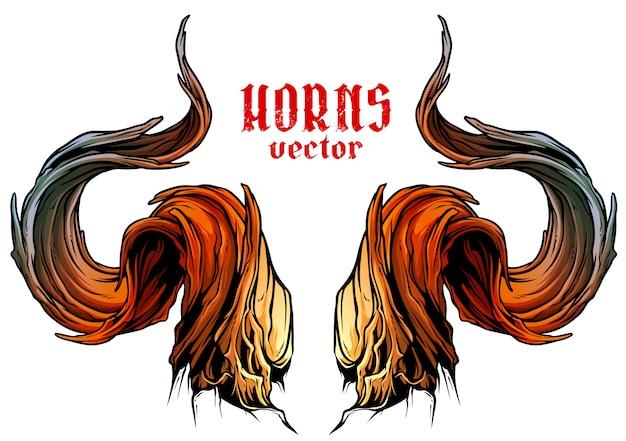 Vecteur de dessin animé grand cornes de taureau forte
