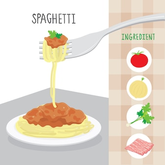 Vecteur de dessin animé international food spaghetti ingredient
