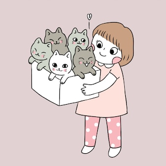 Vecteur de dessin animé jolie fille et chats.