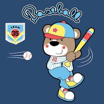 Vecteur de dessin animé de joueur de baseball