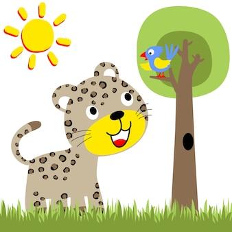 Vecteur de dessin animé de léopard et oiseau