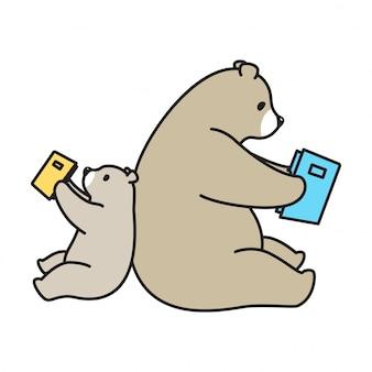 Vecteur de dessin animé livre ours polaire