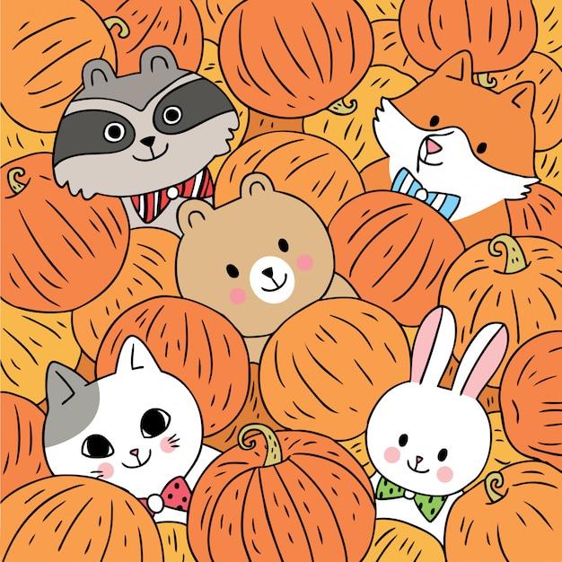 Vecteur de dessin animé mignon animaux automne et citrouilles.