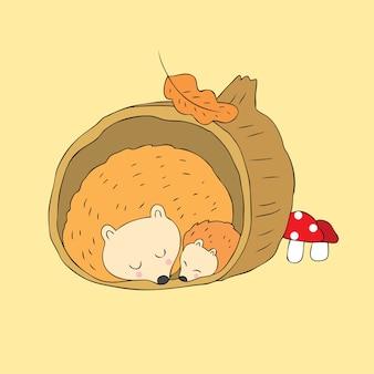 Vecteur de dessin animé mignon automne hérissons dormir.