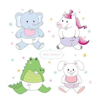 Vecteur de dessin animé mignon bébé animaux.