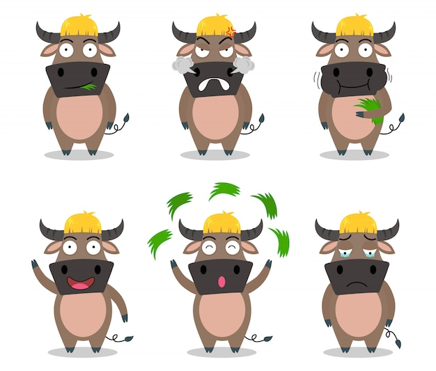 Vecteur de dessin animé mignon buffalo situé dans une émotion différente