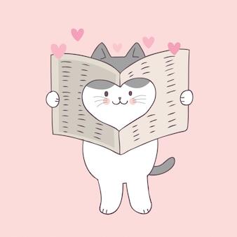 Vecteur de dessin animé mignon chat et l'amour de saint valentin.