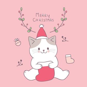 Vecteur de dessin animé mignon chat et chaussette de noël.