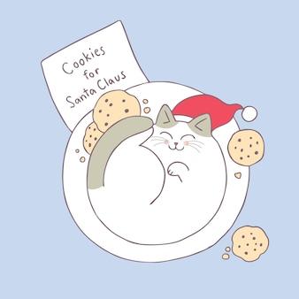 Vecteur de dessin animé mignon chat de noël en sommeil.
