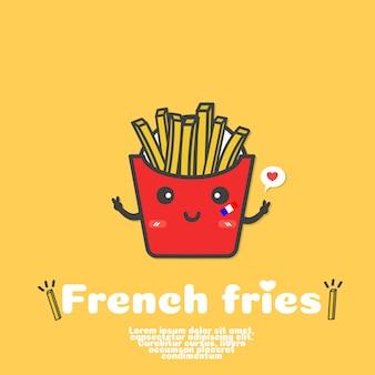 Vecteur de dessin animé mignon français frites. concept alimentaire kawaii.