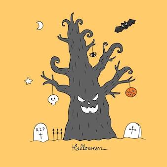 Vecteur de dessin animé mignon halloween arbre maléfique.
