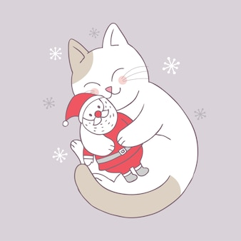 Vecteur de dessin animé mignon noël chat et père noël poupée.