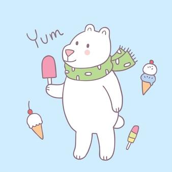 Vecteur de dessin animé mignon ours et crème glacée.