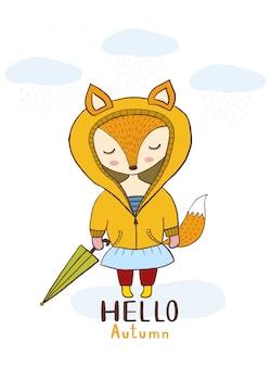 Vecteur de dessin animé mignon petite fille de renard avec parapluie et nuage bonjour automne.