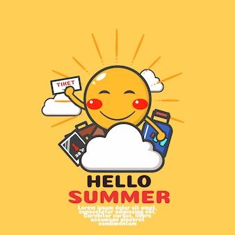 Vecteur de dessin animé mignon soleil. bonnes vacances d'été.