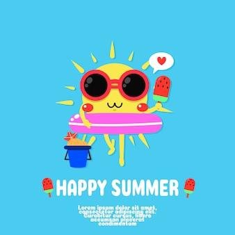 Vecteur de dessin animé mignon soleil. joyeux été.
