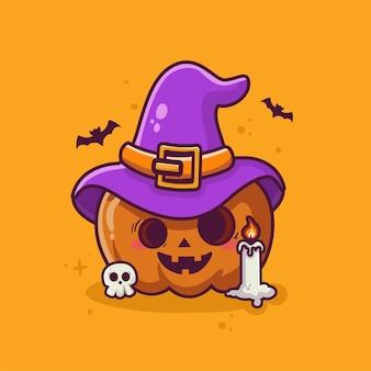 Vecteur de dessin animé mignon sorcière citrouille halloween fond de dessin animé élément haloween