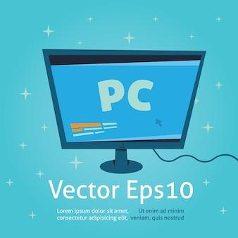 Vecteur de dessin animé de moniteur d'ordinateur et illustration, desctop pc