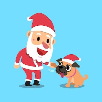 Vecteur de dessin animé noël père noël avec chien carlin